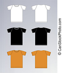 vit, svart, orange t-shirt, design