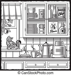 vit, svart, retro, kök