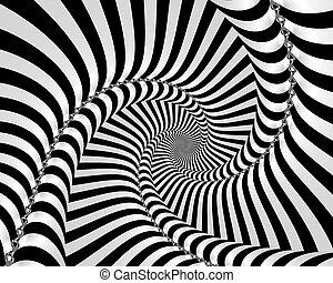 vit, svart, spiral