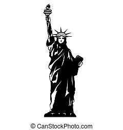 vit, svart, staty, frihet