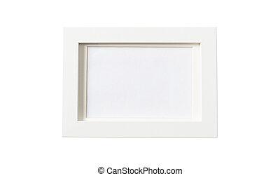 vit, tömma inrama, isolerat, vita, bakgrund