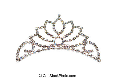 vit, tiara, isolerat, diadem, eller