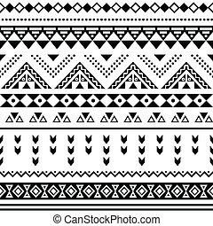 vit, tibal, seamless, aztekisk, mönster