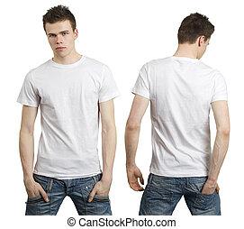 vit, tom, skjorta, tonåring