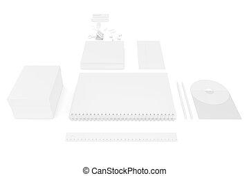 vit, tom, ultimate, sätta, av, tryckning, material, mall, för, förgrena, identity., 3, framförande