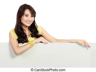 vit, tonåring, holdingen, tom, leende flicka, bord