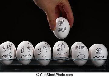 vit, trångmål, ägg, vettar