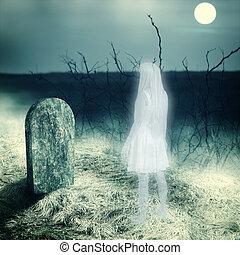 vit, transparent, kvinna, spöke, på, kyrkogård