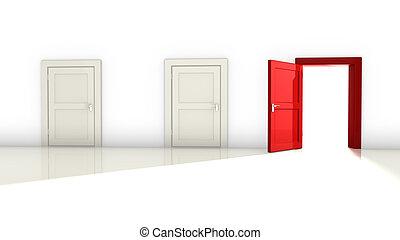 vit, tre, röd, dörrar