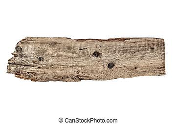 vit, ved, gammal, isolerat, planka