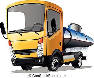 vit, vektor, bakgrund., lastbil, illustration., tecknad film, isolerat