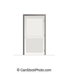 vit, vektor, dörr, bakgrund, illustration