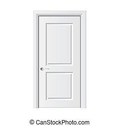 vit, vektor, dörr, illustration
