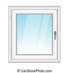 vit, vektor, fönster, pvc