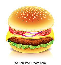 vit, vektor, hamburgare, isolerat, illustration