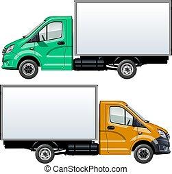 vit, vektor, lastbil, isolerat, mall