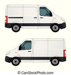 vit, vektor, skåpbil, illustration