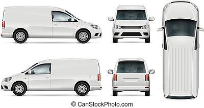 vit, vektor, skåpbil, template.