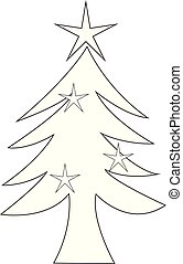 vit, vektor, träd, jul