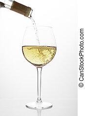 vit vin, flytande, in, a, glas
