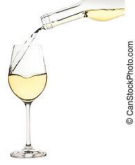 vit vin glas, är, strömmat, från, a, flaska