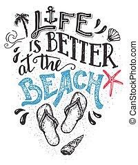 vita, è, meglio, spiaggia, hand-lettering, scheda