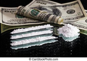 vita, ancora, droghe, dollaro, su, rotolato, nota, mucchio, ...
