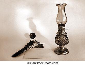 vita, ancora, lampada, olio