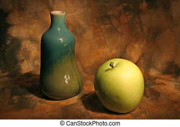 vita, ancora, mela, vaso