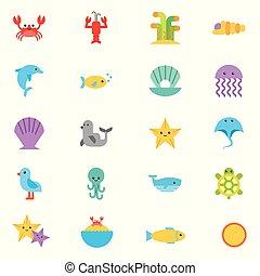 vita, animali, mare, fascio, icone