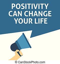 vita, announcement., positività, mano, discorso, lattina, presa a terra, megafono, bolla, tuo, cambiamento