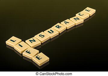 vita, blocchi, assicurazione, lettera