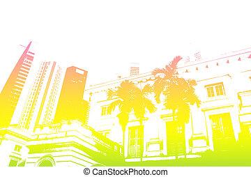 vita città, astratto, moderno, giallo, trendy