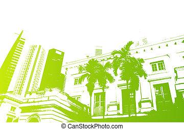 vita città, astratto, moderno, verde, trendy