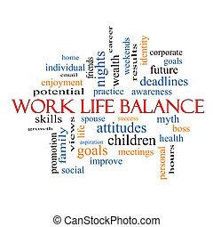 vita, concetto, parola, lavoro, equilibrio, nuvola