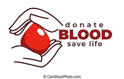 vita, donare, trasfusione, isolato, sangue, risparmiare,...