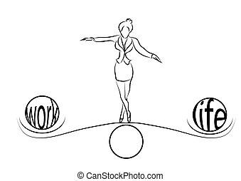 vita, equilibrio, donna