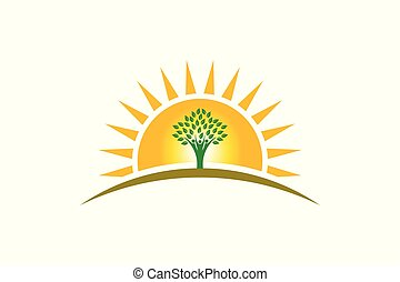 vita, famiglia, persone, tre persone, sole, logo., albero, forte