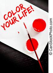 vita, foglio, colorare, tuo, dipinto, carta, bianco, messaggio, rosso
