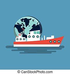 vita, icone, immagine, relativo, mare, nautico