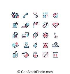 vita, icone, sano, vettore, idoneità, linea