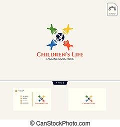 vita, illustrazione affari, creativo, vettore, sagoma, logotipo, bambini, scheda