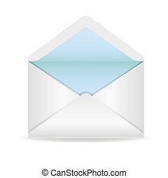 vita kuvert, öppnat