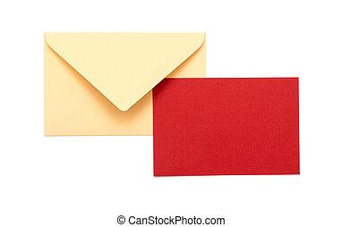 vita kuvert, röd fond