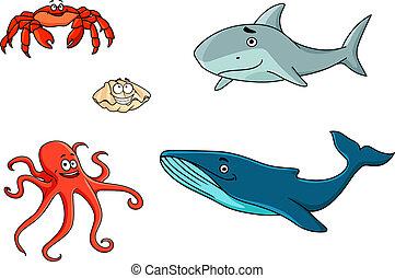 vita marina, set, animali, mare