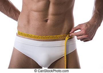 vita misura, shirtless, giovane, muscolare, metro a nastro, uomo