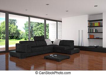 vita moderna, stanza, con, pavimento parchè