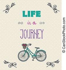 vita, motivazionale, tipografico, citare, fondo, jorney