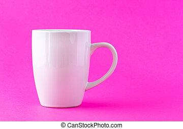 vita mugg, på, a, rosa bakgrund