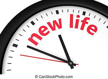 vita nuova, cominciando, orologio tempo, concetto